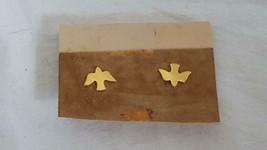 "Tiny 3/8""VINTAGE Brass Birds In Flight Stud Earrings, Goldtone,No Defects,Unused - $4.94"