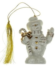 Lenox Collections Ivory 24K Gold Snowman Ornament Candy Cane Tassle Chri... - $15.99