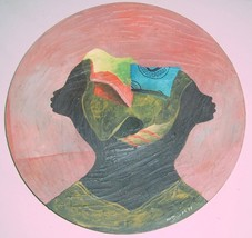 1988 African Women Hand Painted & Crafted Rose Wood Plaque Signed Joseph - $289.14