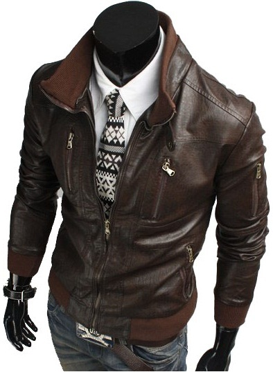 HANDMADE MENS BIKER LEATHER JACKET, MEN SLIM FIT BROWN BIKER LEATHER JACKET