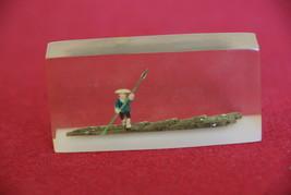 Man on Bamboo Raft Cast Acrylic Resin Cube  - $15.00