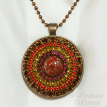 Red Aventurine Rhinestone Pendant Necklace Glas... - $69.00