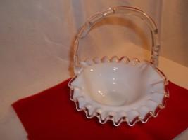 Fenton Silver Crest Basket   Old Fenton   No Markings - $35.50