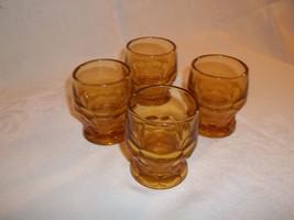 Set Of 4 Amber Georgian Shot Glasses - $14.50