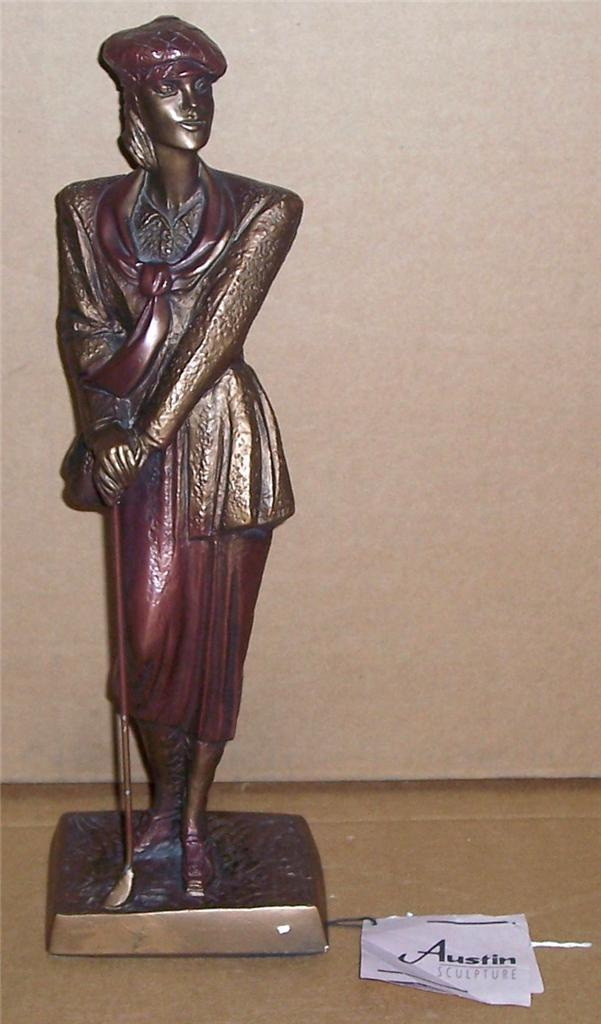 "1990 Austin Sculptures ""Birdie"" Female Golfer Bronze Color Statue Signed Danel"