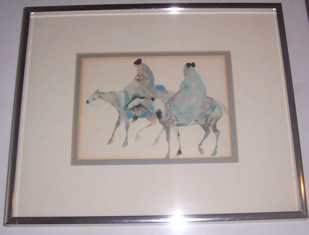 "1990 Carol Grigg ""Guardians"" Framed Reproduction Native Indian Print"
