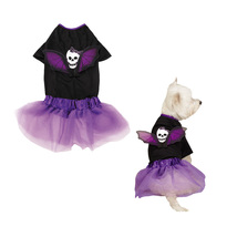 Casual Canine goth gothic punk wings Skull Dog halloween Costume size small - $9.99