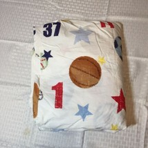 All Star Sports Full Flat Sheet Pottery Barn Kids Numbers Helmet Balls - $12.59