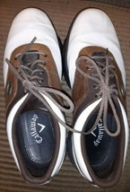 Men's Callaway Golf Shoes M142-15 White/Drk Brown XTT LT Saddle Mens Size 8 - $27.49
