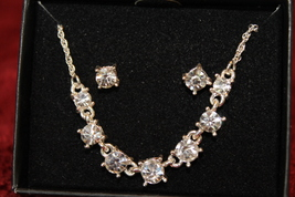 Sparkling Crystal Necklace and Earring Gift set - Silver tone  - $12.96