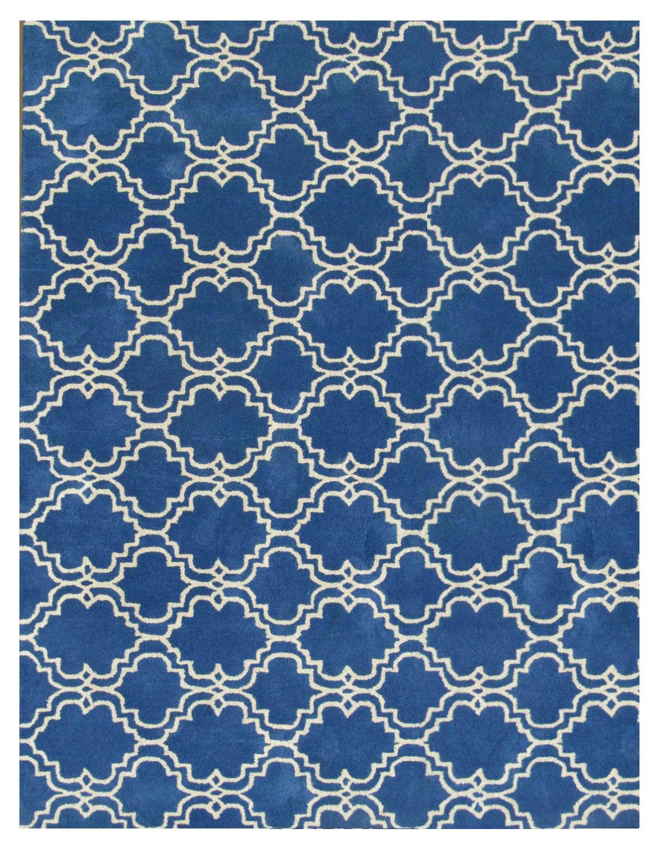 Moroccan Scroll Tile Rug Blue 5' x 8' Contemporary Woolen Area Rug Carpet - $369.00
