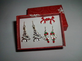 Christmas Dangle and Post Earrings - 3 Pair - Silver tone, Red and Green - $12.89