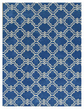 Moroccan Scroll Tile Rug Blue 8' x 10' Contemporary Woolen Area Rug Carpet - $599.00