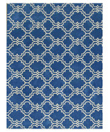 Moroccan Scroll Tile Rug Blue 8' x 10' Contemporary Woolen Area Rug Carpet - $599.00