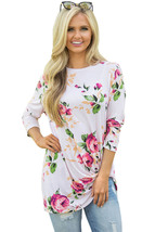 White Long Sleeve Knotted Floral Print Blouse  - $18.49