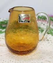 Vintage Pilgrim Amber Crackle Glass Small Pitcher with Applied Handle - $11.75