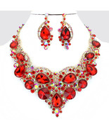 Red Gold Crystal Rhinestone Teardrop Necklace Bib Collar Pendant Earring... - $89.99