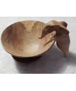 Vintage Wood Carved Elephant Bowl with Underplate - $125.00