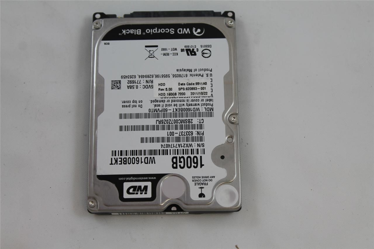 HP WD GENUINE LAPTOP HARD DRIVE HDD SATA 160GB 7200RPM 620893-001