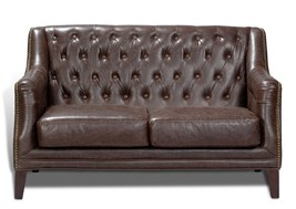 Awesome Chesterfield Antique Cigar 2 Seat Leather Sofa.54'' X 32'' X 39'' - $1,480.05