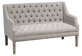 CHIC SHABBY FRENCH COUNTRY GREY OAK LINEN SETTEE/BENCH,58'' W X 33''D X ... - $2,424.51