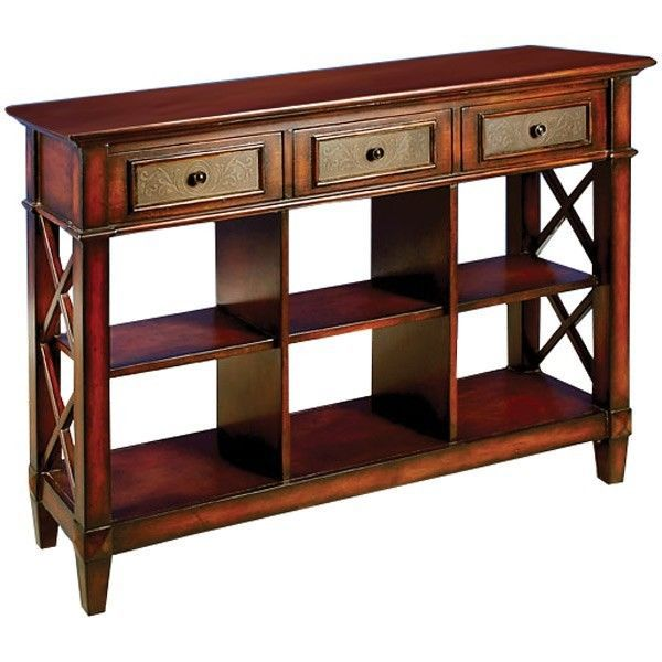 Stunning metal accent drawers wood console table 52 39 39 wide for Wide sofa table