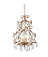 BEAUTIFUL ANTIQUE STYLE GOLD LEAF PENDANT CHANDELIER,18.5''TALL.. - $125.00