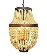 AWESOME GOLD IRON CREAM WOODEN BEADS,4 LIGHT CHANDELIER,20''TALL. - $395.01