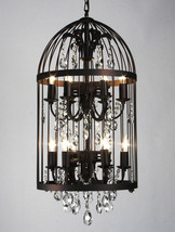 STUNNING & UNIQUE BIRDCAGE METAL/ CRYSTAL CHANDELIER,33'TALL! - $1,450.00