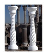 STUNNING PAIR OF RED OR WHITE  MARBLE PEDESTALS,12''DIAM X 39.5''TALL. - $1,579.05