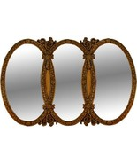 ANTIQUE  STYLE TRIPLE OVAL GILT  LARGE MIRROR,52'W' X 1.5''D X  31.5''TALL. - $890.01