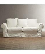 CHIC SHABBY FRENCH STYLE WHITE TWILL SOFA,64'' W X 38''D X 35''H. - $2,127.51