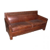Awesome Artsome Vintage Cigar Top Grain Leather Sofa,71'' X 32'' X 35''H. - $2,623.50