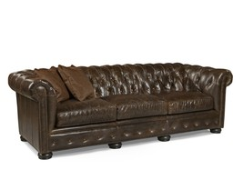 Awesome Old World Tufted Leather Chesterfield Large Sofa,100'' X 40'' X 32''H. - $4,404.51