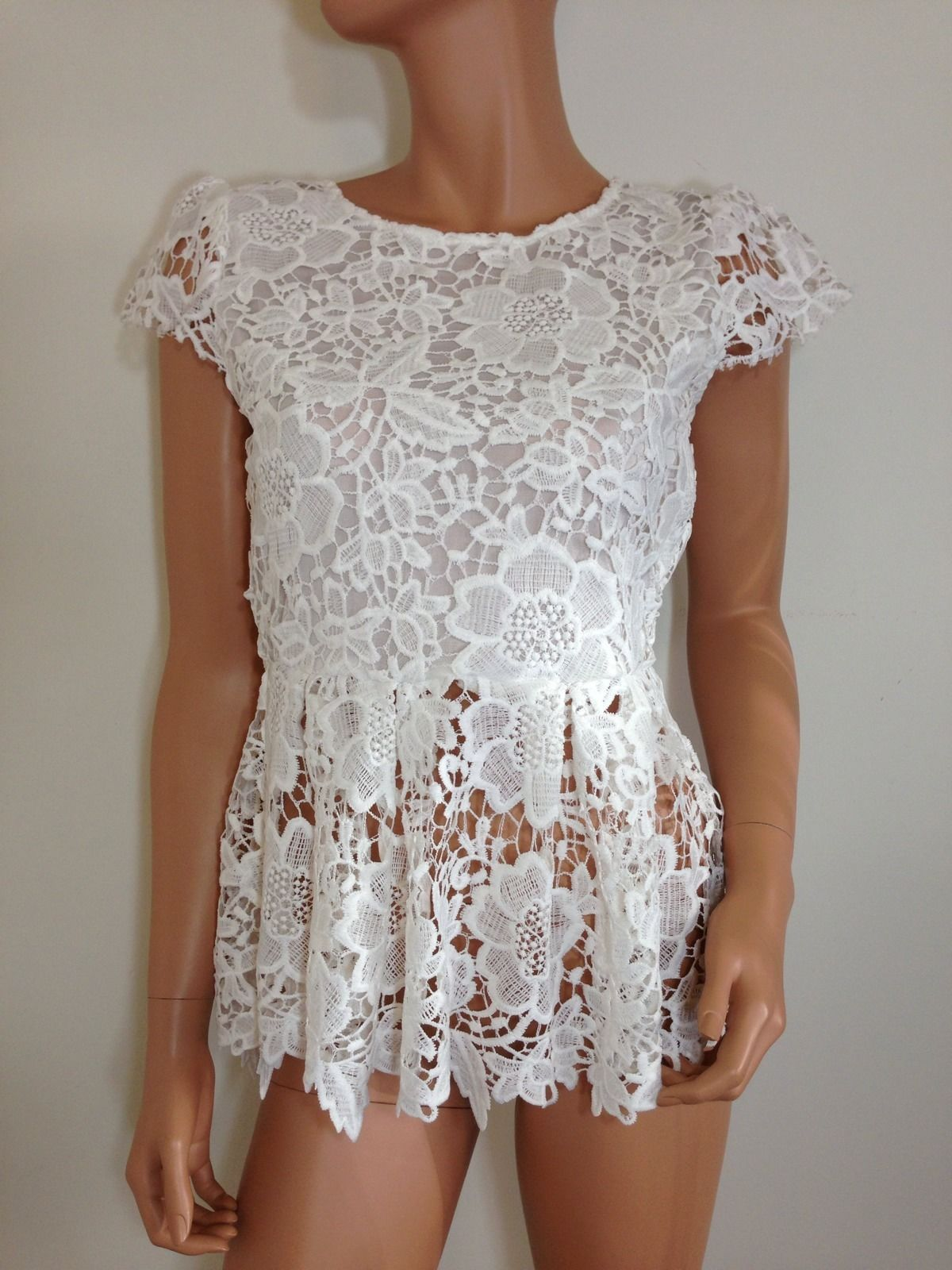 White Lace Top Crochet Blouse Tunic wedding SMALL - Tops ...