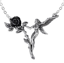 Faerie GladeBlack Rose Garden Fairy Pewter Pendant Necklace Alchemy Gothic P844 - $23.45