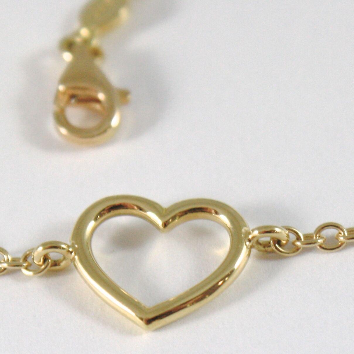 Bracelet en or Jaune 750 18K avec Coeur Tuyau , Rolo, 18 cm Longueur