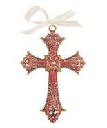 Decorative Cross Ornament Burgundy Swirled Paint and Rhinestones/ Organz... - $10.95