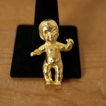 Vintage Style Gold Tiny Mini Baby Brooch Pin Designer Runway Prototype S... - $119.99