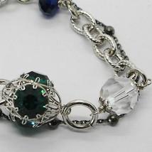 Silber Armband 925 Rhodium und Brüniert mit Kristallen Bunt Made in Italien image 2