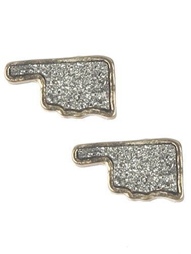 Glitter Bling Oklahoma Pride State Post Earrings (Silvertone / Goldtone)