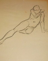 1993 SIGNED HANK WERNER NUDE MAN POSE #1 CHARCO... - $178.20