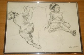 1993 SIGNED HANK WERNER NUDE WOMAN CHARCOAL ART... - $386.99