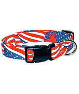 Handmade Dog Collar Wavy Flags Cotton Nylon Web 1 inch Wide Size Large - $23.50