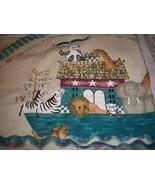 Vintage Noah's Ark Wall Hanging & Bib Fabric Panel - $8.00