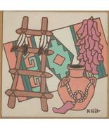 """1995 KRIT EARTHTONES """"CHILIES"""" INDIAN TILE TRIVET ART - $27.12"""