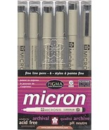 Micron Fine Line Pens Set of 6 Black Pens (Asso... - $14.95