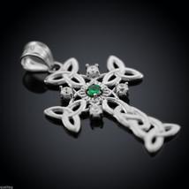 Sterling Silver Celtic Trinity Knot Cross Diamond Pendant with Genuine E... - $149.99