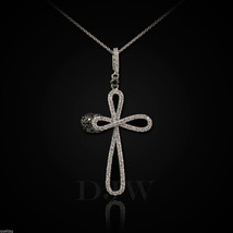 925 Sterling Silver Infinity Cross Clear CZ Pendant Necklace - $26.99+