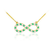 14K Gold Diamond & Emerald Studded Infinity Necklace (Made in USA) - $399.99+